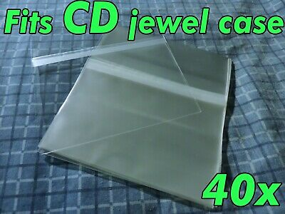 40x CD Standard Jewel Case Resealable Protective Plastic Sleeve Bags Sleeves OPP