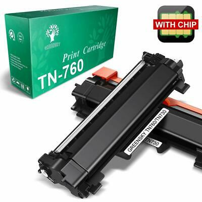 2 Pack for Brother TN-760 TN760 MFC-L2710DW L2750DW Toner Cartridge with Chip
