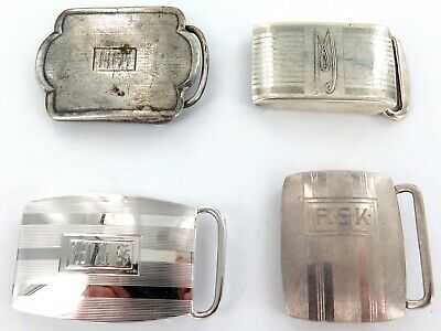 .4 Vintage Sterling Silver Smallish Belt Buckles.