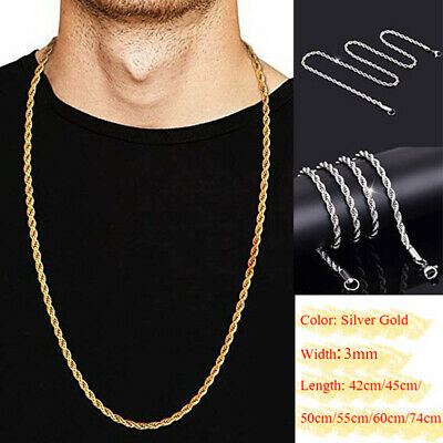 Gold Silver Solid Twist Rope Chain Necklace Wedding Engagement Gift 42 74cm