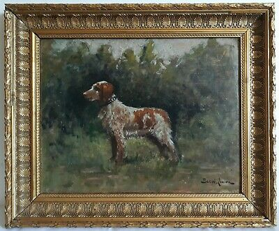 Lucien Barue Painting Oil Portrait of Dog Spaniel Fine 19th Early 20th