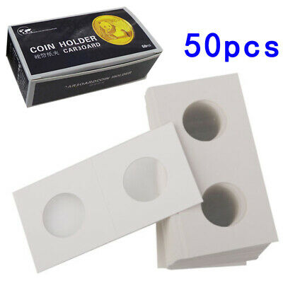 50pcs 2x2 Penny Cent Mylar Paper Cardboard Coin Holder Flip For Coins 40mm Dia.