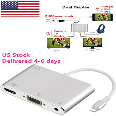 Lightning to Digital HDMI VGA Cable Adapter Cable For iPhone X/6/8plus iPad ipod