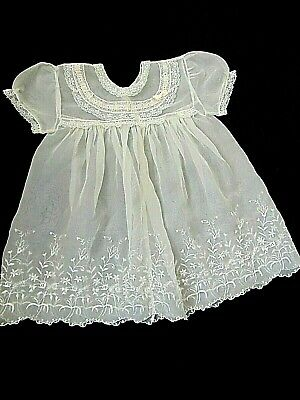 Vintage 1950s Embroidered Dainty and Delicate Baby Dress 3-6 months