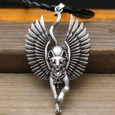 Viking Egypt Cat With Angel Wings Bastet Necklace Egyptian Nordic Jewelry Amulet
