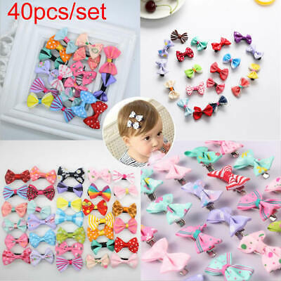 Flowers Hair Clip Kid Baby Girl Hair bows Alligator Clips Hairpin 40pcs Set