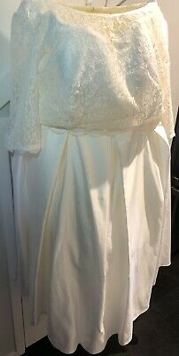 Bridal Gown Ivory Strapless Wedding Dress With Lace 3/4 Sleeve Top Plus Size 24W
