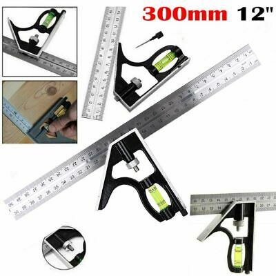 """300mm 12"""" Adjustable Engineers Combination Try Square Set Right Angle Ruler AU"""