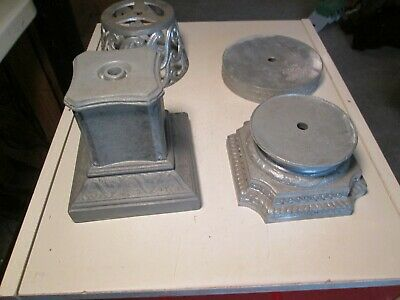 DD# Vtg Lot of Spelter Lamp Bases Risers Spacers Finials White Metal Steampunk