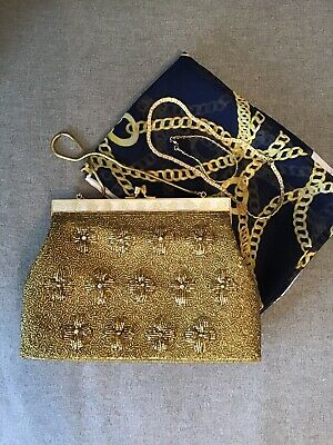 Vintage Gold Beaded & Crystal 1950s-60s Bag With Accessories