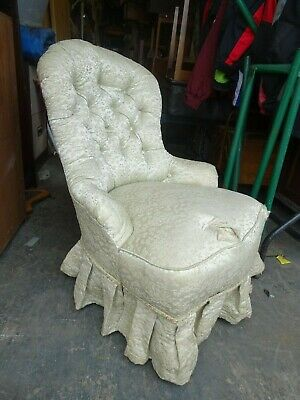 Antique Deep Upholstered Nursing/ Bedroom Chair on Brass Castors