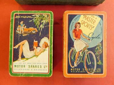 2x Full Decks Rare Australian Playing Cards Motor Spares & Cycles 1940-50s