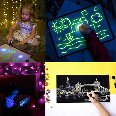 Draw With Light Fun Developing Toy Drawing Board + Magic Scratch Art Painting