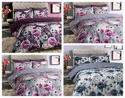 Inky Floral Printed Reversible Duvet Quilt Cover Bedding Set with Pillowcase(s)