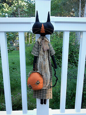 FoLk Art PrimiTive FaLL HaLLoWeen PumpKin PaTch BLACK CAT DOLL DecoraTion TaG