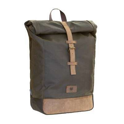 Merlin Yarnfield Waxed Cotton 20L Capacity Rolltop Motorcycle Rucksack - Olive