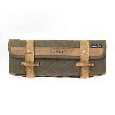 Merlin Chaplow Waxed Cotton Tartan Lined Motorcycle Tool Roll - Olive