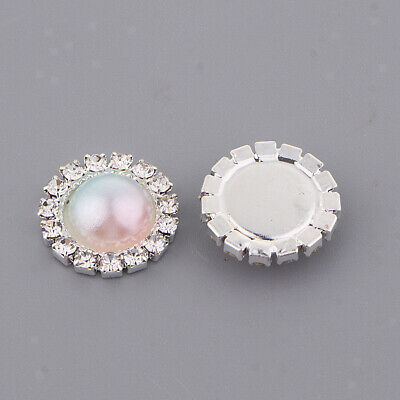 10pcs rainbow color Crystal Rhinestone Pearl Flowered Button Ornaments