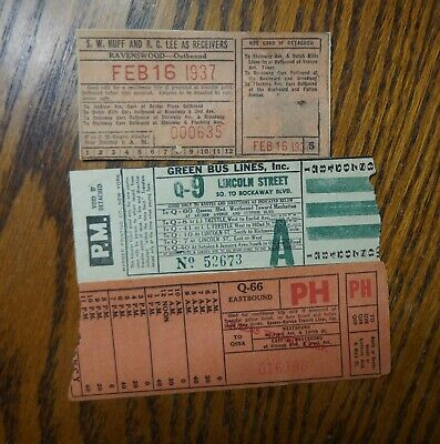 3 Bus/Trolley Paper Transfers Green Bus Lines - Ravenswood - 1937