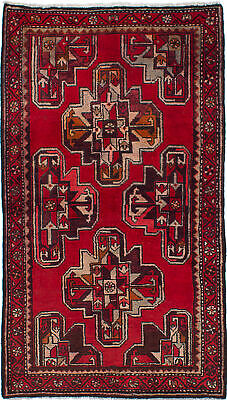 "Traditional Oriental Carpet 3'6"" x 6'3"" Hand Knotted Red Area Rug"