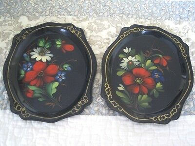 2 Hand Painted Metal Folk Art Tole Trays -Red Poppy White Daises Blue Violets