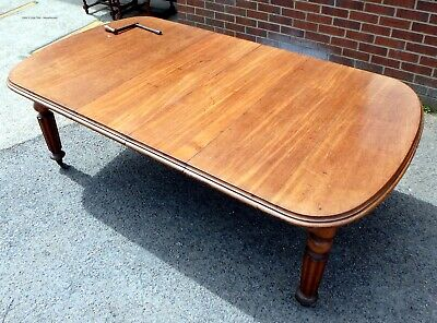 Victorian antique solid Cuban mahogany extending kitchen dining table seats 10
