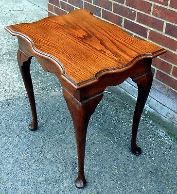Edwardian antique Arts & Crafts shaped solid oak occasional lamp hall side table