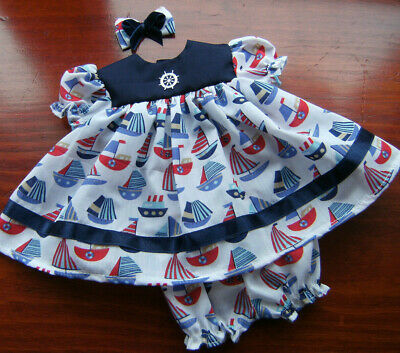 """SAIL BOATS NAUTICAL DRESS, CLIP & PANTS for 16"""" BABY BORN~TINY TEARS~ FIRST LOVE"""