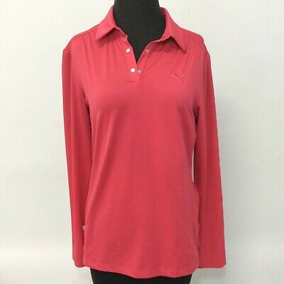 Women's Medium Puma Sport Lifestyle Long Sleeve Pink Polo Shirt Snap Front