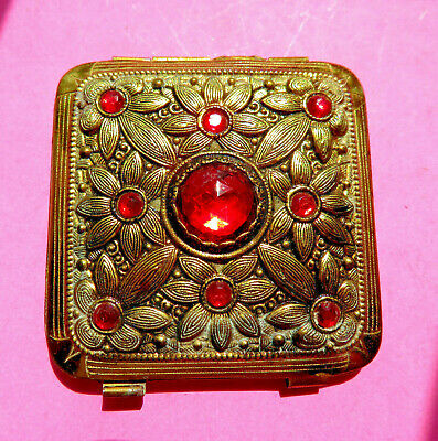 Antique Powder Compact,Floral Design Set With Red Faceted Stones