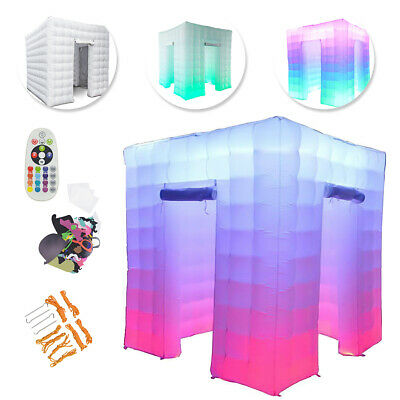 110V 2.5M 2 Door Inflatable Photo Booth LED Light  Tent Party Birthday Wedding