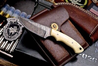 CFK Handmade Twist Damascus Custom Small Natural Camel Bone Mini Skinning Knife
