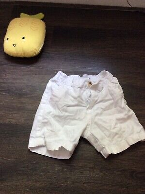 Janie & Jack Baby Toddler Boys Linen Blend Shorts White Size 12-18 Months