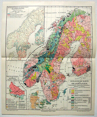 Scandinavia - Original 1912 Geological Map by Meyers. Norway Sweden Finland