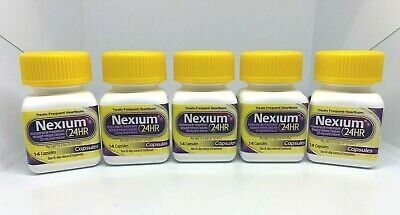 5 Nexium 24Hr Delayed-Release 14 Cap Acid Reducer Exp 08/20 New Without Box