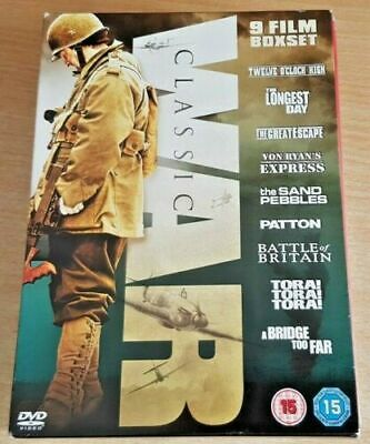 Classical War 9 Film Boxset Dvd Collection Great Escape Patton The Longest Day