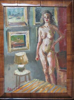 Peter Collins Studio Nude Oil Modern British Interior Oil