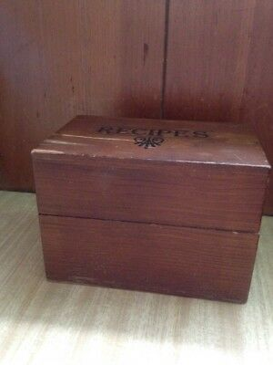 """Vintage Wood Wooden 3"""" X 5"""" Recipe Card Box With Dividers"""