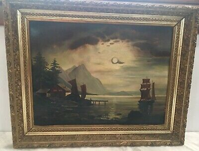 Large Rare 19th Bay of Naples Nocturnal Landscape Painting Stunning Frame NO RES