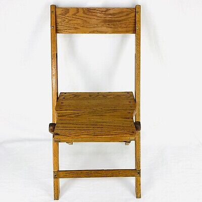 Vintage Antique Snyder Oak Wood Slat Folding Chairs Americana Wooden Rustic