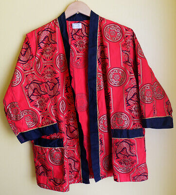 1960s Towncraft Plus Penney's RARE Dragon Short Robe Smoking Jacket Size 38 XL