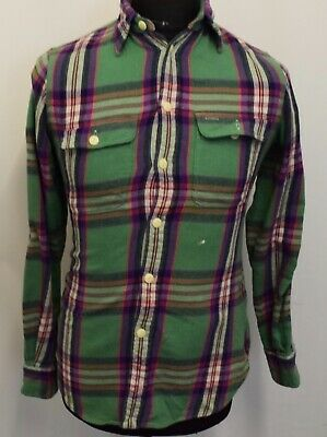 Sw537 Polo  Ralph Lauren Men's Checked Green Custom Fit Shirt Size S