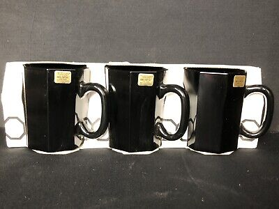 Arcoroc OCTIME Black Glass Octagon Coffee Tea Mugs Cups Made in France VINTAGE!
