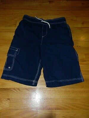 Boys' Lands' End Swim trunks Sz Large Navy Blue Exc Cond