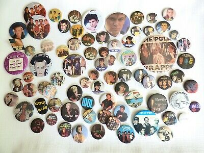 BIG Lot Vintage 80s - Pop / Rock Pins / Buttons / Pinbacks - 80 Pieces!