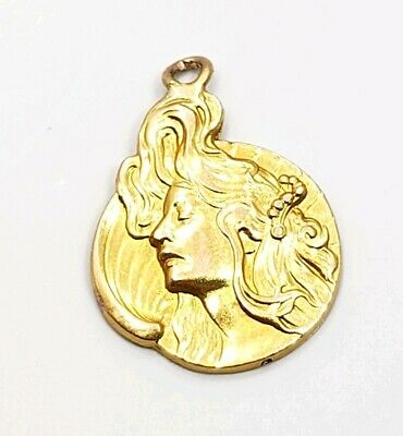 Antique Vintage Art Deco 18k Yellow Gold Detailed Face Lady Milan 1902 Charm