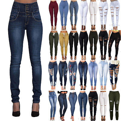 Women High Waisted Ripped Button Slim Skinny Jeans Denim Ladies Jeggings Pants
