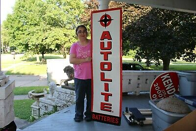 "Large Vintage 1960's Autolite Batteries Ford Gas Station 60"" Embossed Metal Sign"