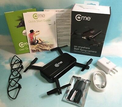 C-me Foldable GPS Quadcopter Drone 8MP Digital Camera Full HD 1080p Video Black