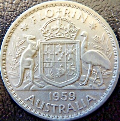 1959 Silver 2/- TWO Shilling Florin TWO BOB QUEEN Elizabeth II Very Nice